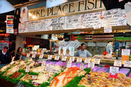 Pike Place Fish Market in Seattle, USA