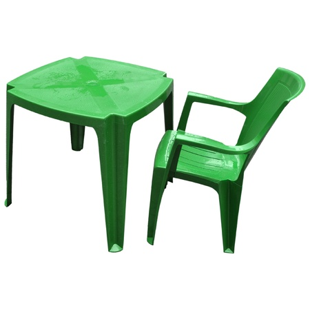 Plastic table and chair for alfresco bar isolated over white background