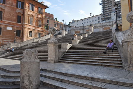ROME, ITALY - JUNE 24, 2014: Tourists visiting the Piazza di Spagna Trinita dei Monti Rome Italy