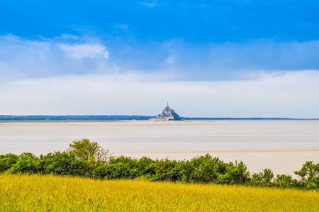 High dynamic range (HDR) Mont Saint Michel island commune with Abbey and fortifications in Normandy France