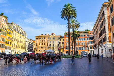 ROME, ITALY - JUNE 24, 2014: High_dynamic_range (HDR) Tourists visiting the Piazza di Spagna Trinita dei Monti Rome Italy