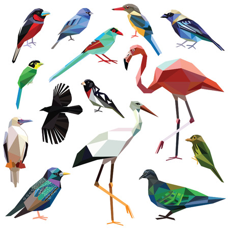 Birds-set colorful birds low poly design isolated on white background. Crow,Broadbill,Bunting,Starling,Flamingo,Tanager,Magpie,Barbet,Pigeon,Booby,Grosbeak,Kingfisher,Stork,Cardinalidaeのイラスト素材