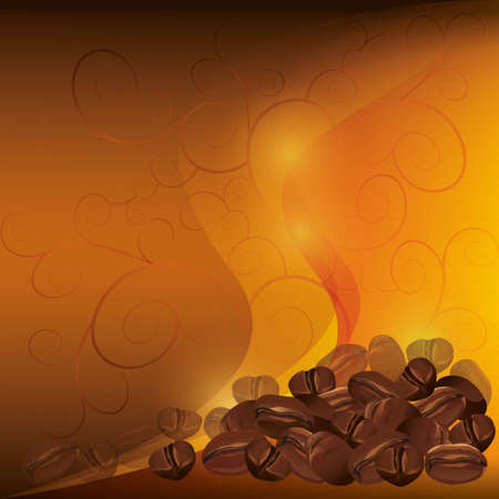 Coffee background chocolate - golden with pattern, vector