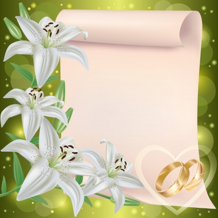 Foto de Wedding invitation or greeting card with lily flowers, wedding rings and paper sheet - place for text, vector - Imagen libre de derechos