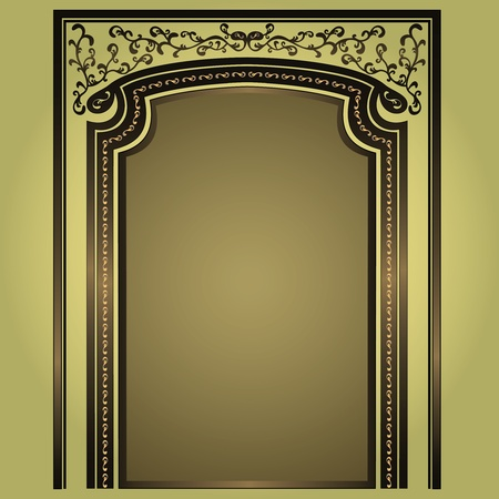 Decorative arch and columns golden-green, elegance floral frame, isolated
