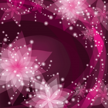 Abstract floral background with white and pink flowers lilies. Greeting or invitation card in retro or grunge stile. Place for text. Vector illustration