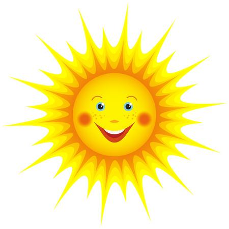 Cute smiling orange sun cartoon isolated on white background, element for design  Vector illustration
