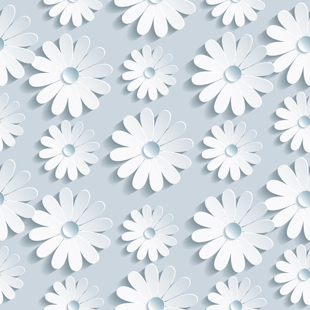 Beautiful background seamless pattern grey with white 3d flower chamomile  Floral trendy creative wallpaper  Vector illustration
