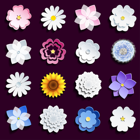 Illustration pour Set of stylish modern spring and summer 3d flowers isolated on dark background. Collection of stylized pink and white sakura blossom - japanese cherry tree, chamomile, sunflower, dahlia, dandelion. Elements of floral design, icons flowers. illustration - image libre de droit
