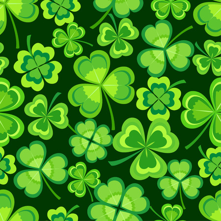 Ilustración de Beautiful stylish st. Patrick's day seamless pattern with green stylized leaf clover on dark background. Spring nature backdrop with shamrock. Floral trendy modern wallpaper. Vector illustration - Imagen libre de derechos