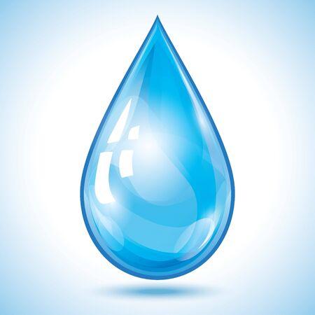 Illustration pour Blue glowing transparent 3d water drop isolated on white - image libre de droit
