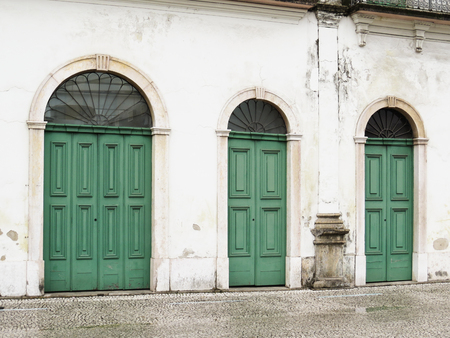 July 22, 2018, City of Santos, Sao Paulo, Brazil, Facade with green doors of the old Cason do Valongo, present Pel? Museum, in the historical center.
