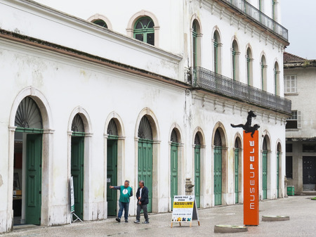 July 22, 2018, Santos, Sao Paulo, Brazil, historic center, facade and entrance of the Casa Valongo, current Pel? Museum, on a rainy day.