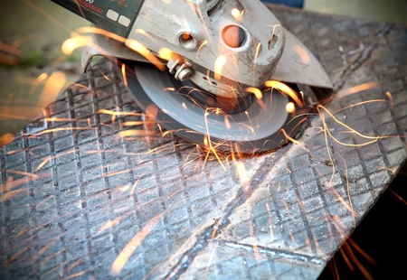 Grinding, close up of  tool and sparks