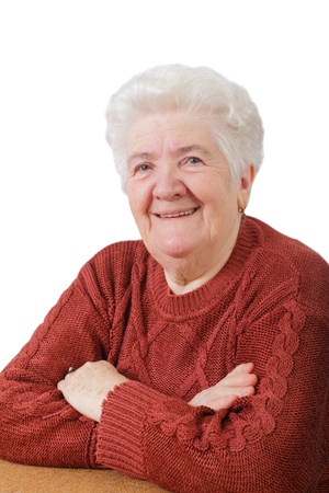 Photo for Portrait of  smiling senior woman with white background - Royalty Free Image