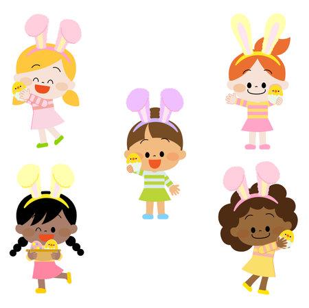 Illustration pour Children in Easter disguise. - image libre de droit