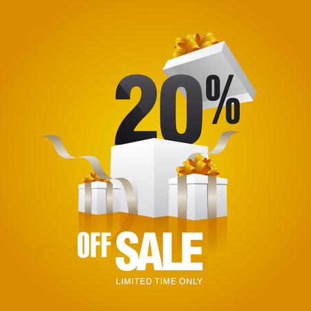 Sale 20 percent off card orange background
