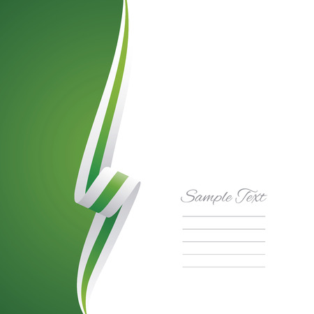 Illustration pour Abstract white green ribbon left side brochure vector - image libre de droit