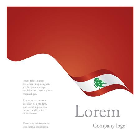 Illustration for New brochure abstract design modular single pattern of wavy flag ribbon of Lebanon - Royalty Free Image