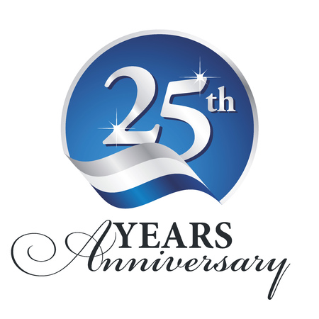 Illustration for Anniversary 25 th years celebrating logo silver white blue ribbon background - Royalty Free Image