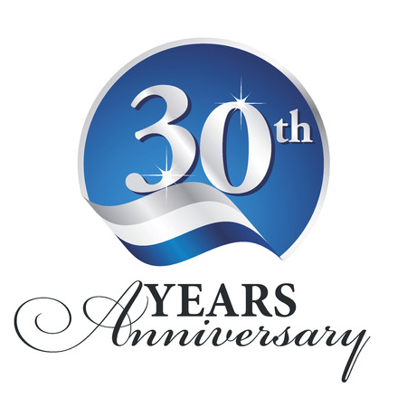 Illustration pour Anniversary 30 th years celebrating logo silver white blue ribbon background - image libre de droit