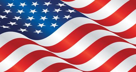 Illustration pour USA wavy flag landscape background - image libre de droit