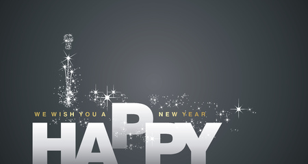 Illustration pour We wish you a Happy New Year 2018 silver black background - image libre de droit