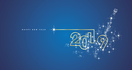 Illustration pour New Year 2019 line design firework champagne gold shining white blue vector greeting card - image libre de droit
