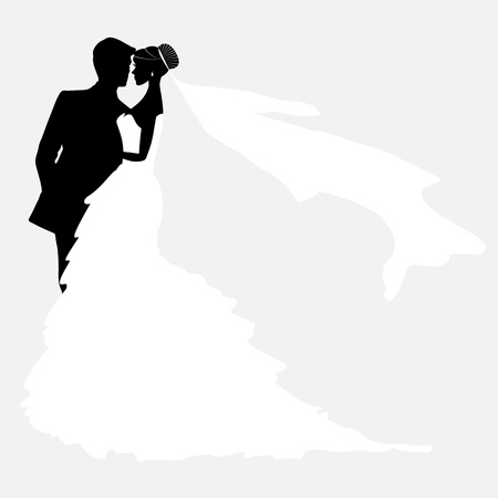 Bride And Groom. Vector Couples Silhouette for Wedding Invitationのイラスト素材
