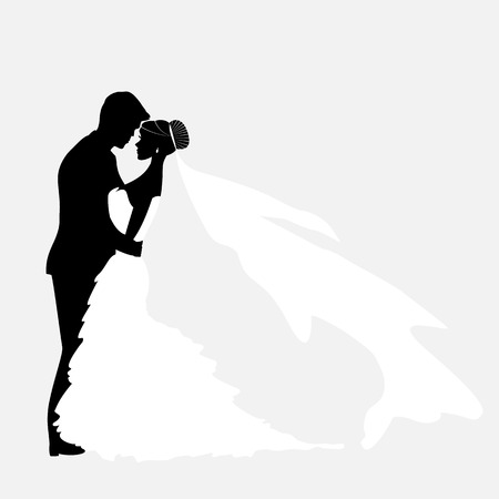 Foto de Bride And Groom. Vector Couples Silhouette for Wedding Invitation - Imagen libre de derechos