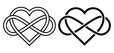 Illustration pour Intertwined Heart with The Sign of Infinity. Love forever - image libre de droit