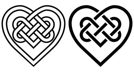 Illustration pour Intertwined Heart in Celtic Knot. Two Variants - image libre de droit
