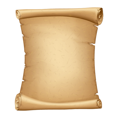 Illustration pour Old Paper Scroll. Vertical Parchment. Ancient Vintage Papyrus. Detailed Cardboard Baner with Space for Your Text - image libre de droit