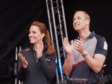 The Duke and Duchess of Cambridge applaud the competing  teams as they prepare to present the prizes to the winning teams of  The Americas Cup World Series in Portsmouth.