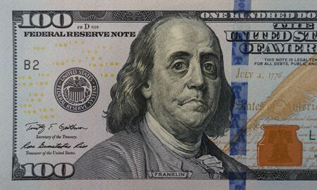 Photo pour Upset sad crying president Franklin on the one hundred dollar banknote. Concept of financial crisis, economic problems - image libre de droit