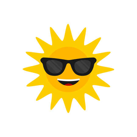 Sun with sunglasses. Cartoon smiling sun icon for weather design. Sunshine symbol happy orange isolated sun vector illustration