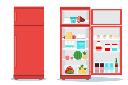 Refrigerator opened with food.Fridge Open and Closed with foods