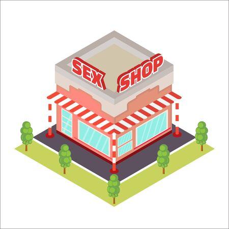 Illustration for Sex Shop isometric icon - Royalty Free Image