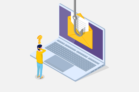 Illustration pour Data phishing isometric, hacking online scam on laptop concept. Fishing by email, envelope and fishing hook. Cyber thief. Vector illustration. - image libre de droit