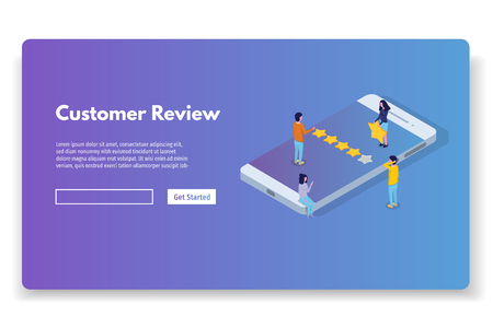 Illustration pour Customer review, Usability Evaluation,  Feedback,  Rating system isometric concept. Vector illustration - image libre de droit