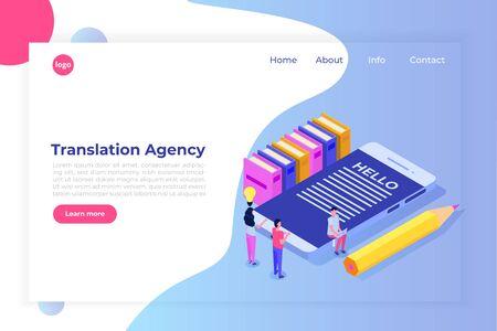 Illustration pour Online Translation agency isometric concept. Interpretation services. Vector illustration - image libre de droit