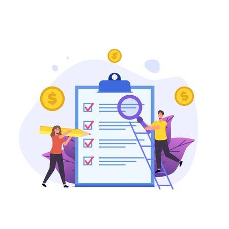 Illustration pour Budget planning, Balance financial, Retirement preparation, Calculating financial risk concept. Vector illustration. - image libre de droit