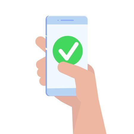 Illustration pour Checkmark on smartphone screen. Vector illustration. - image libre de droit