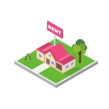 Illustration pour Estate agency concept. Rent cottage icon. Vector isometric illustration. - image libre de droit
