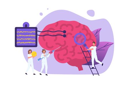 Illustration pour Neurology diagnostics, neurobiology concept vector illustration. Neurologist Tiny doctors treat, inspection check human Brain. - image libre de droit