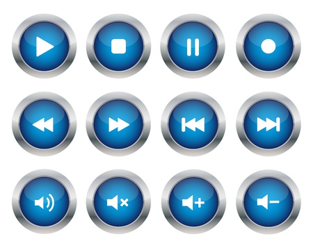 Illustration for Blue multimedia buttons - Royalty Free Image