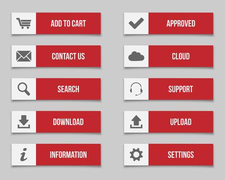 Illustration pour Flat red buttons - image libre de droit