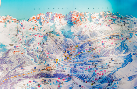 Drawing exposed of the map of the ski slopes of the dolomitic area