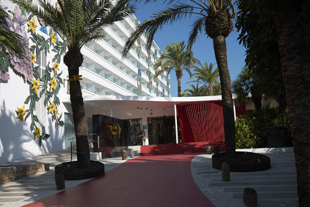 Ibiza, Spain - August 28, 2019  : View of Ushuaia tower hotel entrance