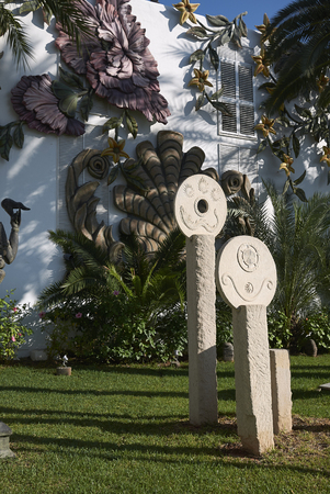 Ibiza, Spain - August 28, 2019  : View of the Ushuaia hotel magic garden